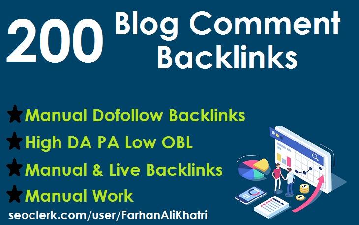 Manual 200 blog comments dofollow backlinks on high DA PA