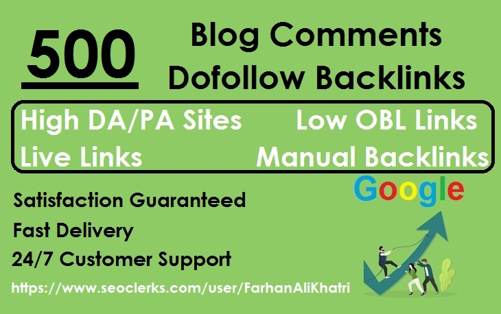 I Will SEO Service Do 500 Blog Comments Dofollow Backlinks