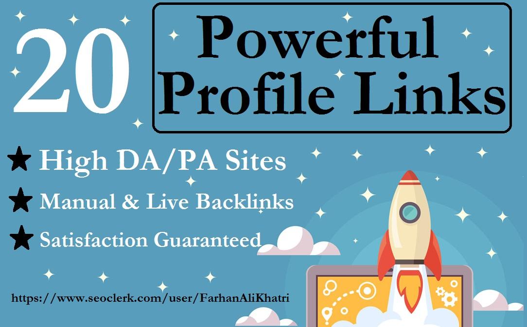 I Will Make 20 Unique Profile Seo Backlinks On High DA/PA