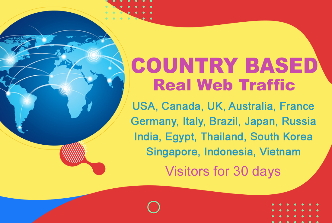 Country based real web traffic,  USA,  Canada,  UK