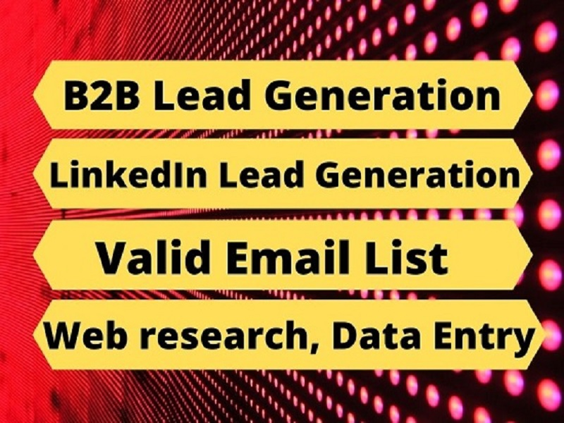 I will do B2B Lead Generation,  web research,  Data entry,  Email list