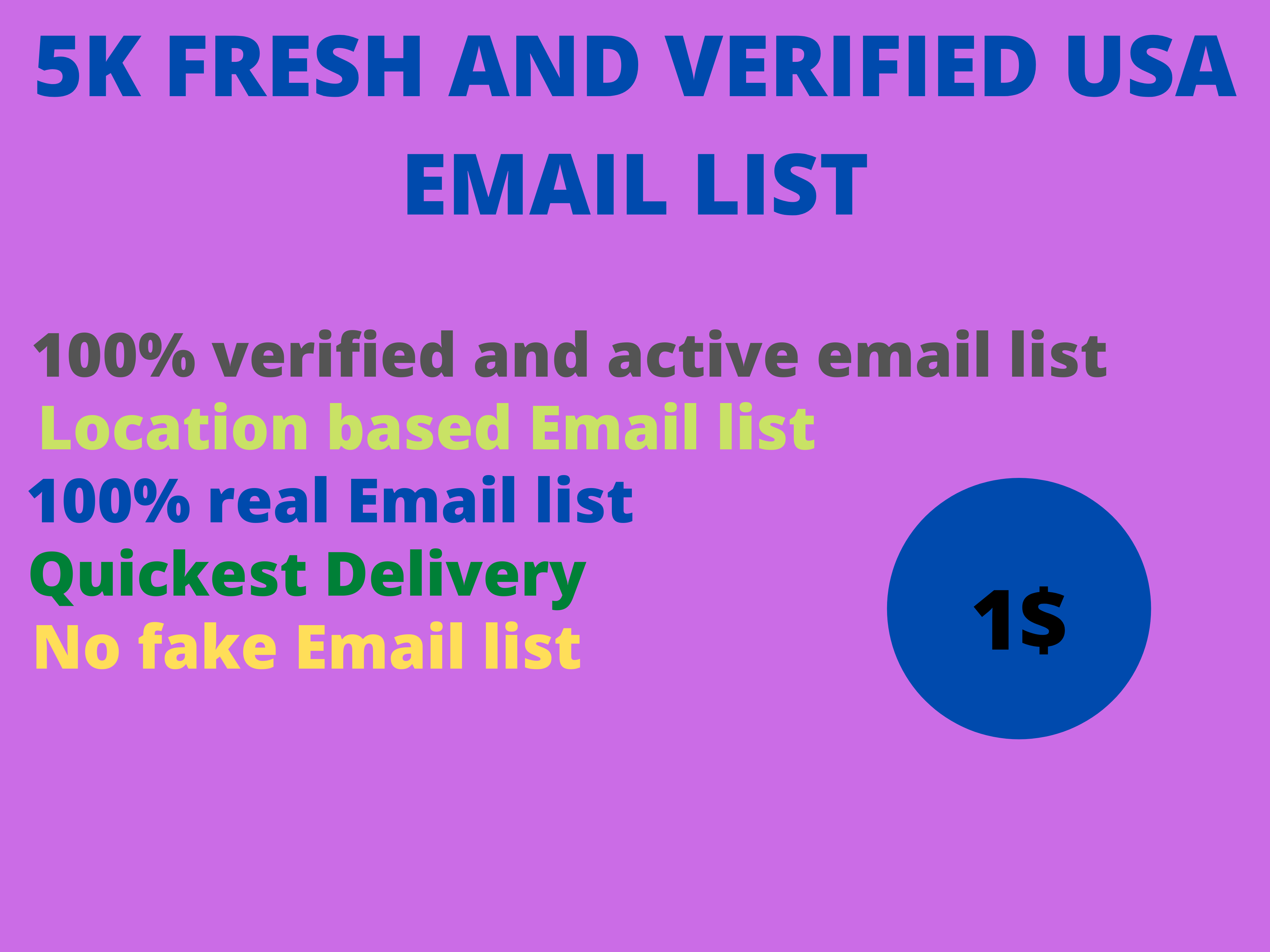I will present you 5K Fresh and Verified USA Email List