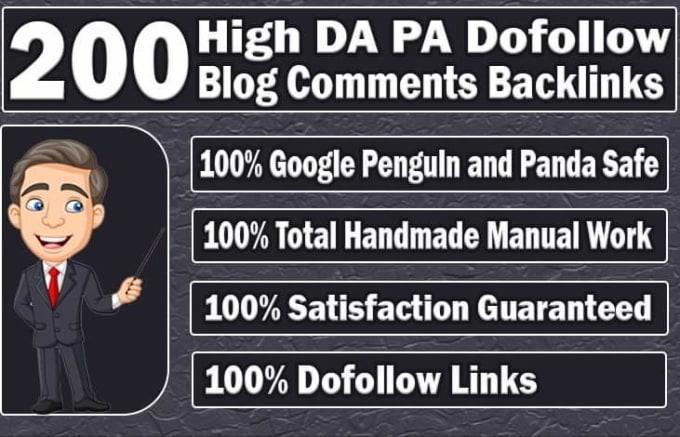 do 200 unique domain dofollow blog comment with high dapa