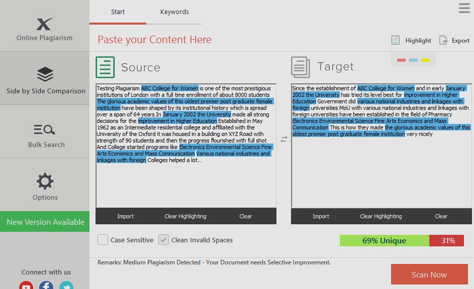 Plagiarism Checker X PRO with Bulk Checking and High Quality Options for