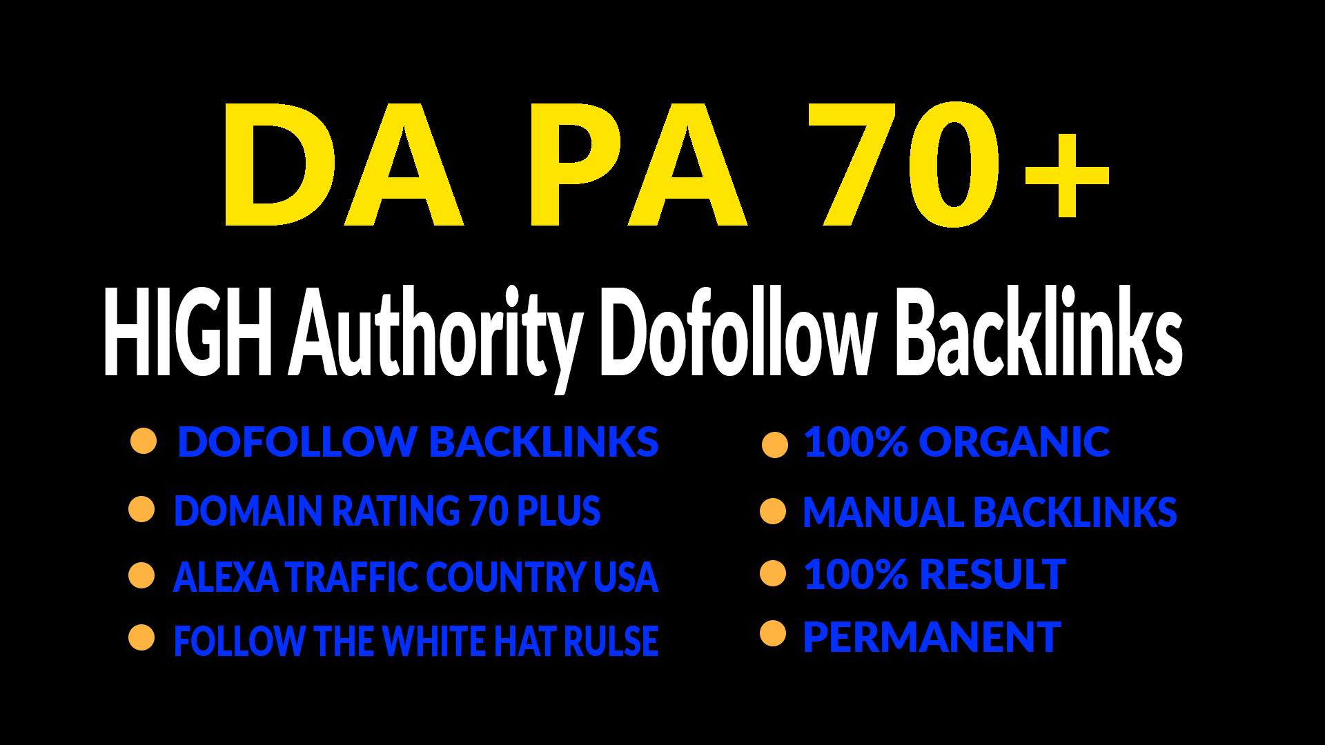provide 25 DA PA 70 plus high quality dofollow backlinks for seo