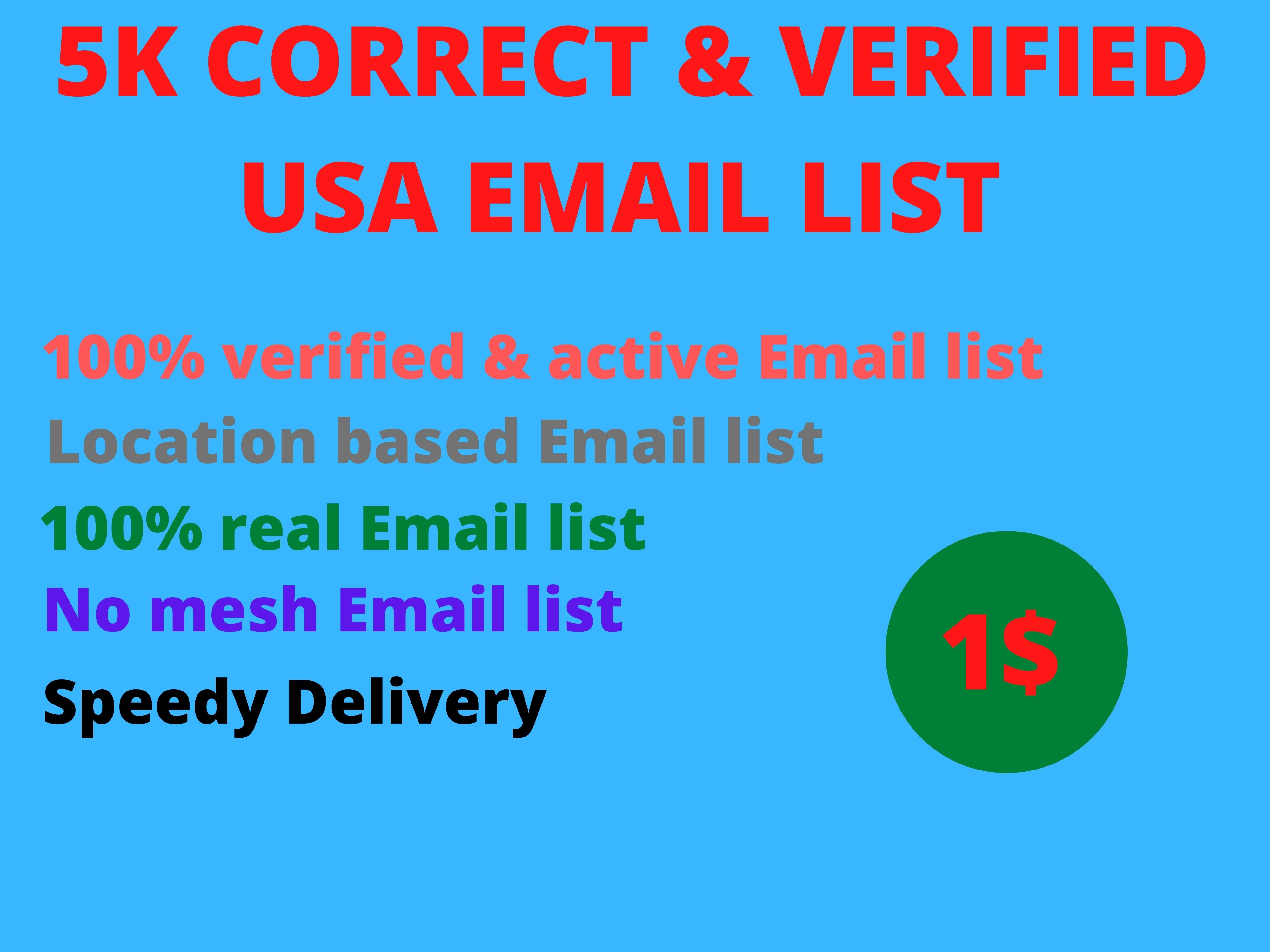 I will appeared you 5K correct and Verified USA Email List