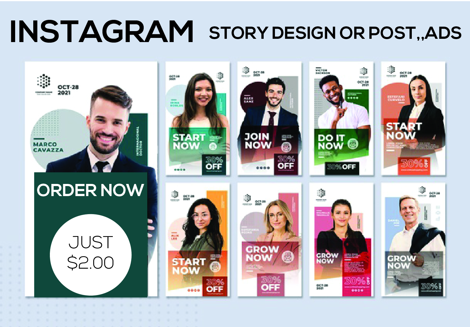 I will design professional 10 instagram post and story template