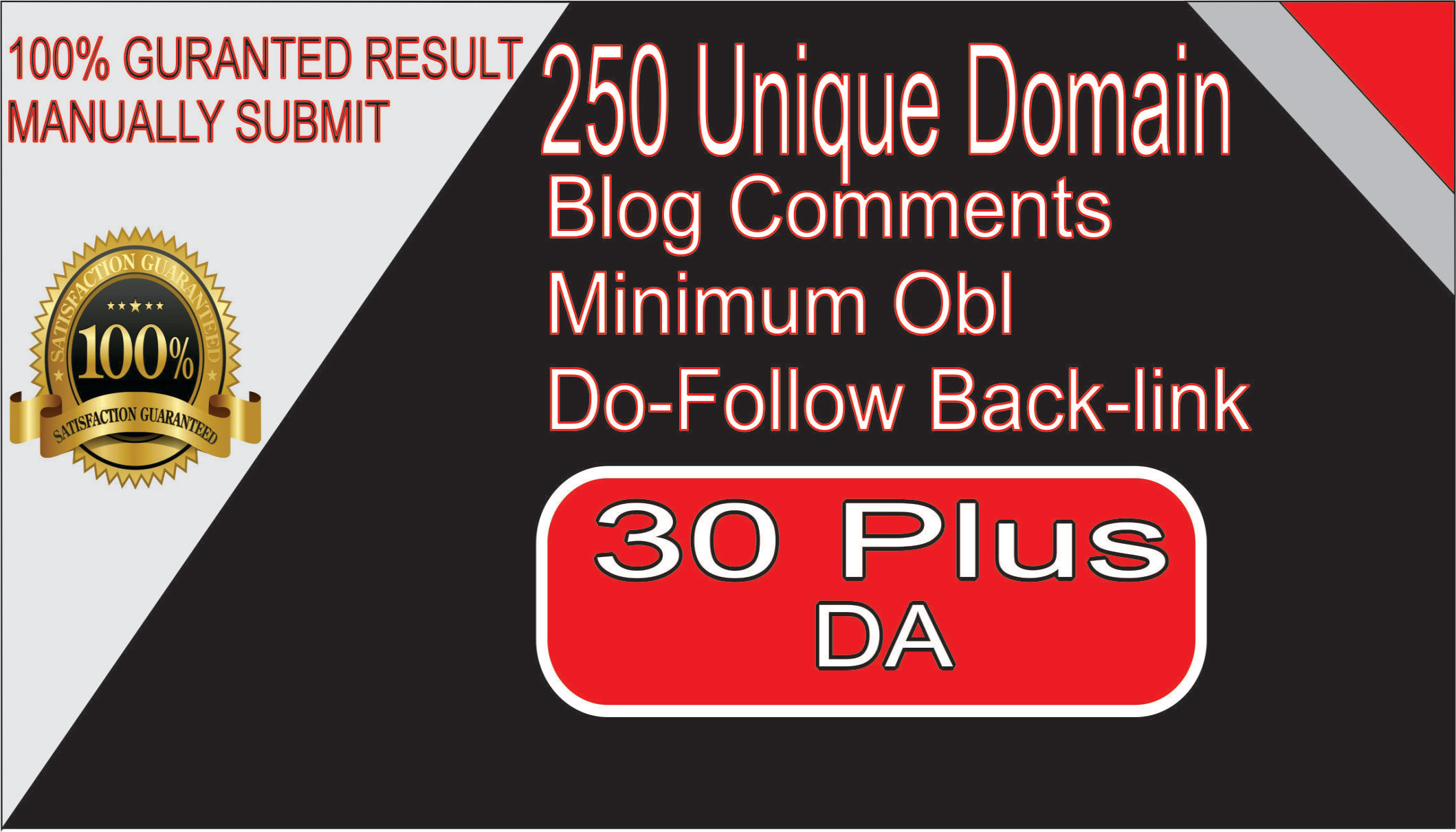 250 unique low obl blog comment dofollow backlinks on da 30