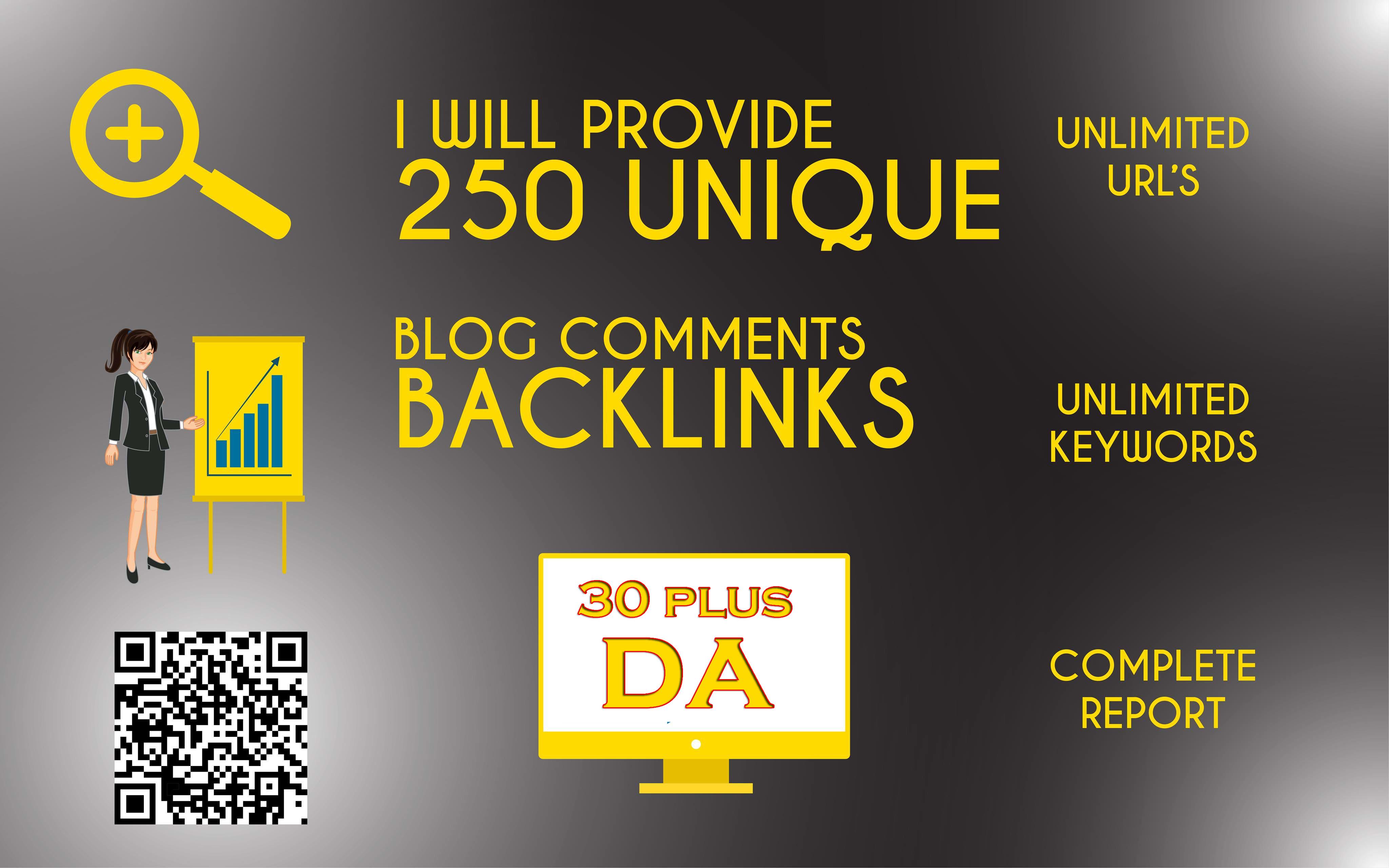 250 unique low obl blog comment dofollow backlinks on da 30