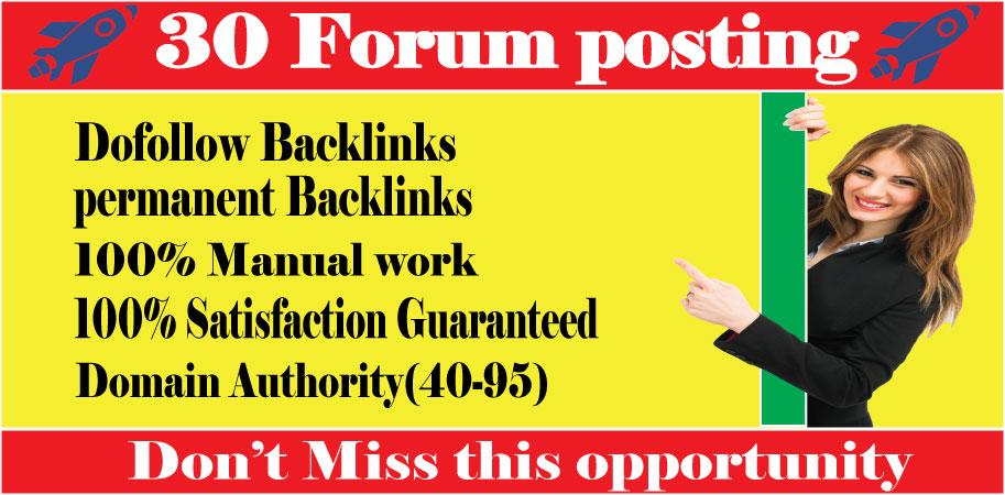 i will manually create 30 dofollow forum p0sting high-quality SEO backlinks