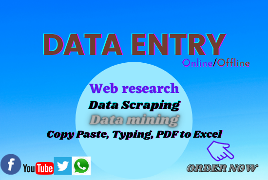 I Will do Data entry,  web research and Data analysis