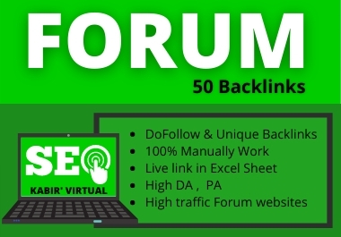 Forum 50 Backlinks manually work