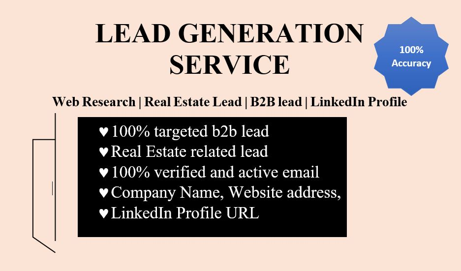 100 percent verified and Accurate Lead Generation Service 30 leads in per order