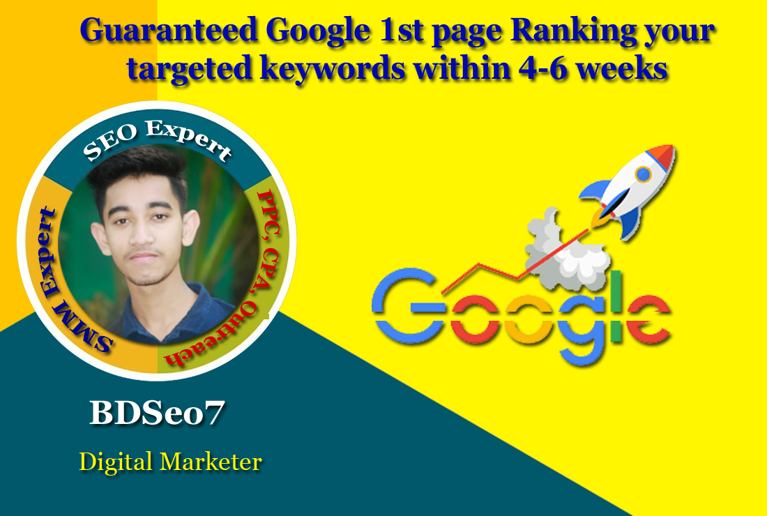 Guaranteed Google 1st page Ranking your targeted keywords within 4-6 weeks