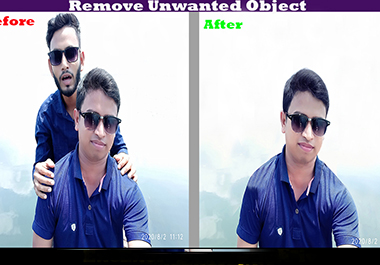 I will remove unwanted object,  person,  text from a photos