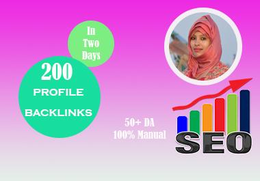 I will do 200 profile backlinks on high da sites