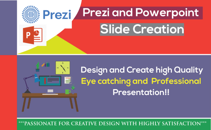 I will create Prezi and PowerPoint presentation slide for you