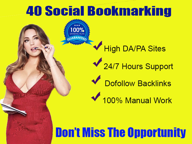 I will provide High quality 40 social bookmarking backlinks for your website