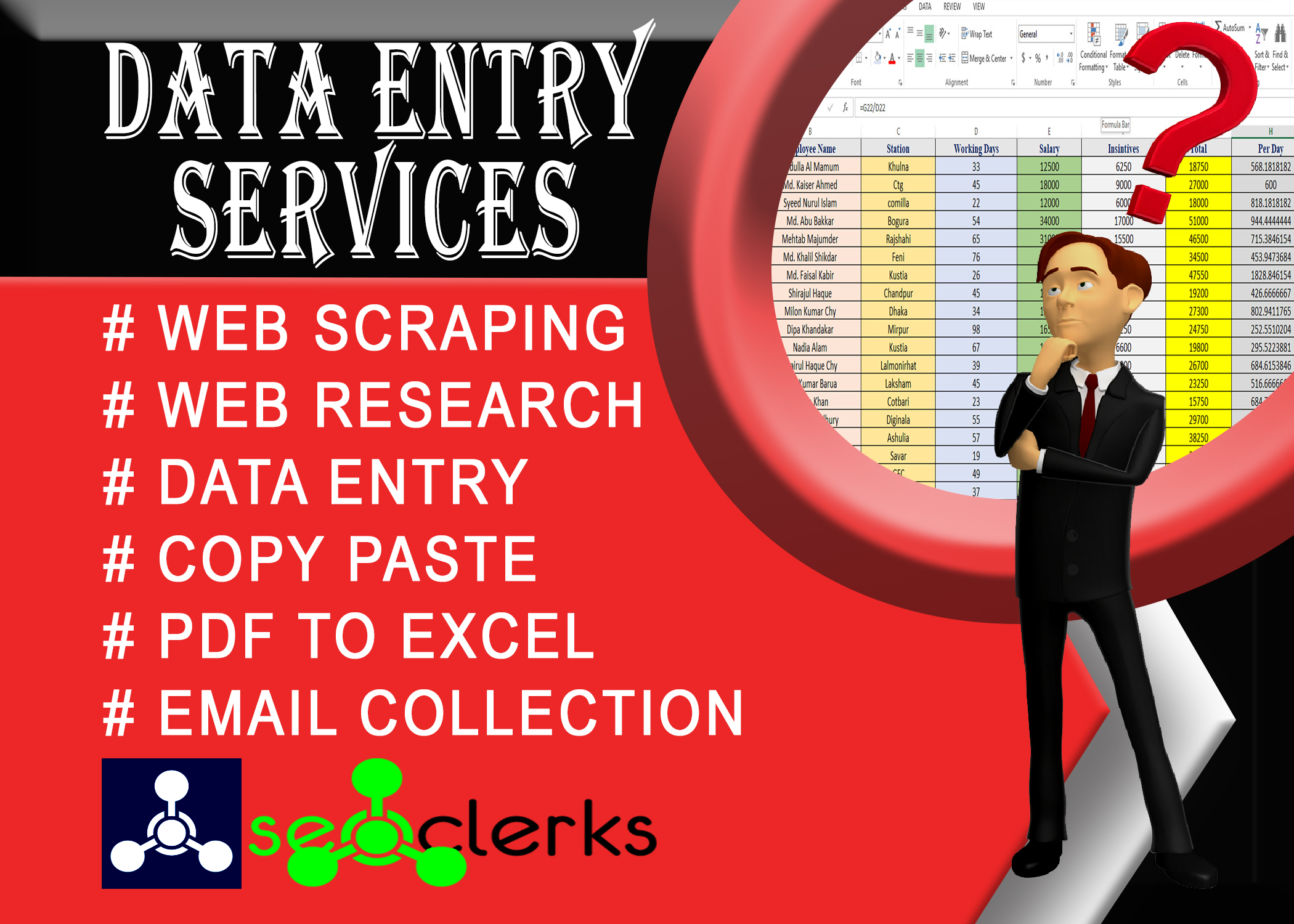 I will do perfect data entry,  web research,  copy paste and web scraping