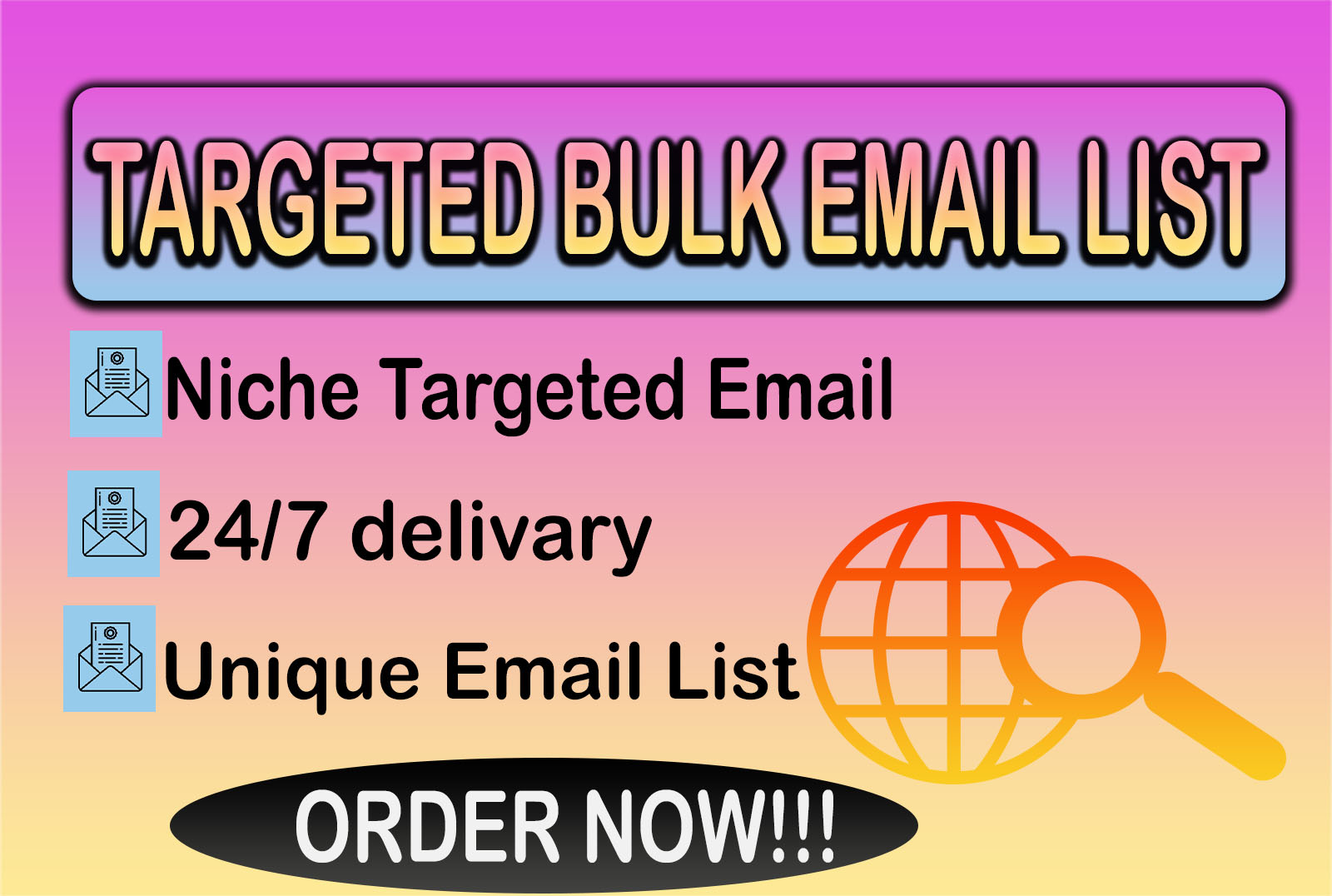 I will collect niche targeted email list,  bulk email collection