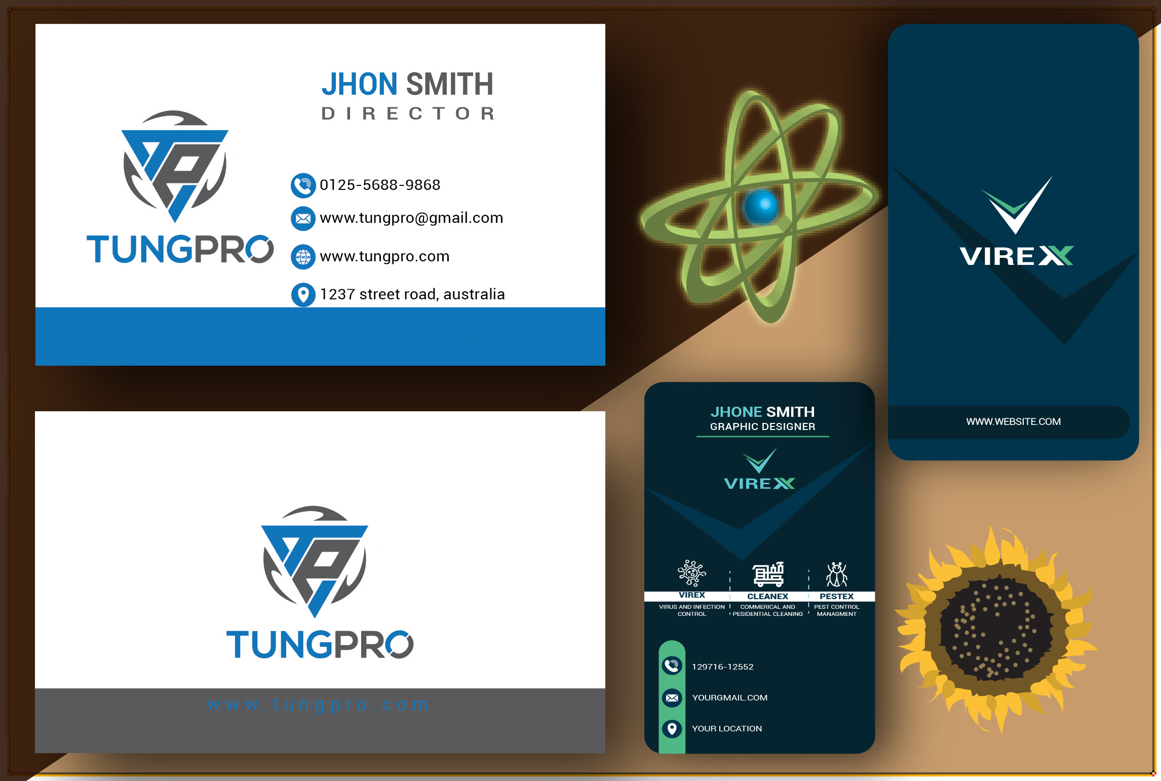 I will create unique professional two sided business card design