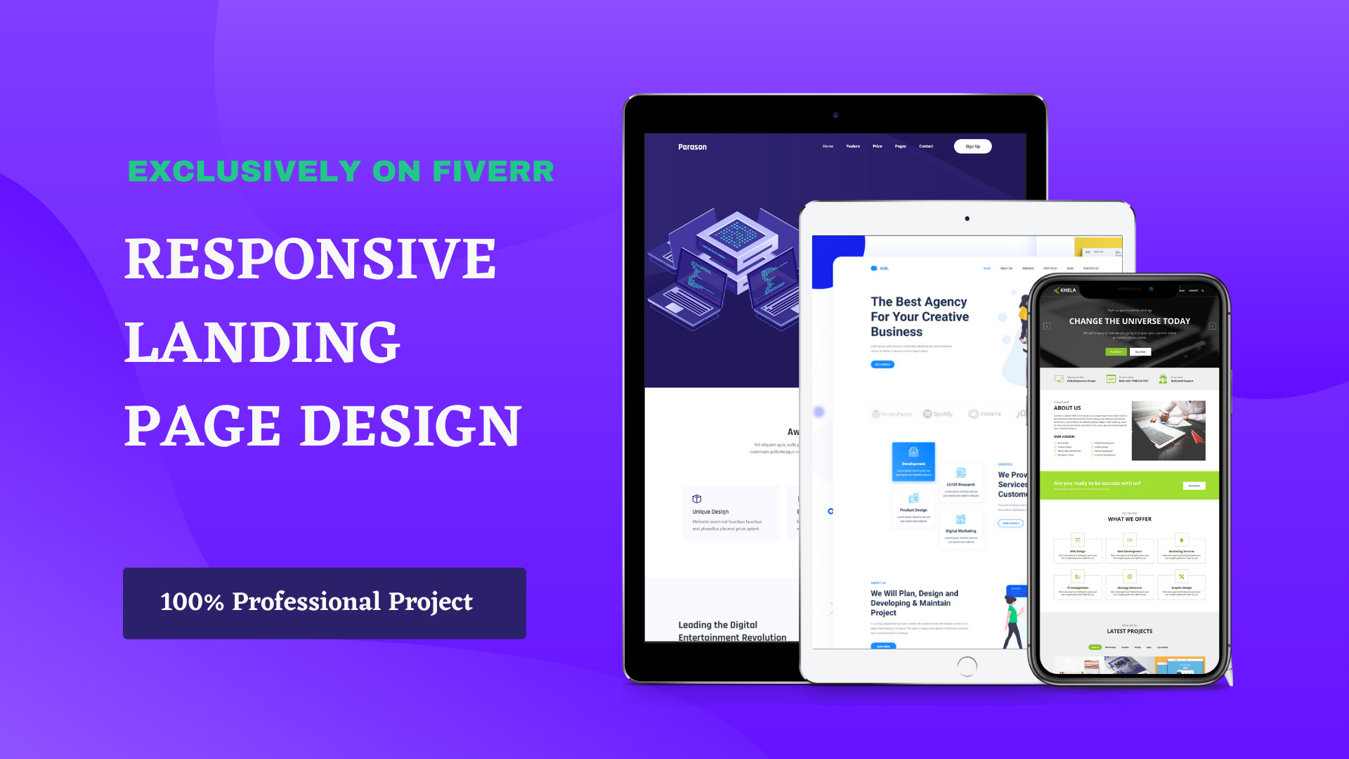 I will create a parallax scrolling landing page with one page website