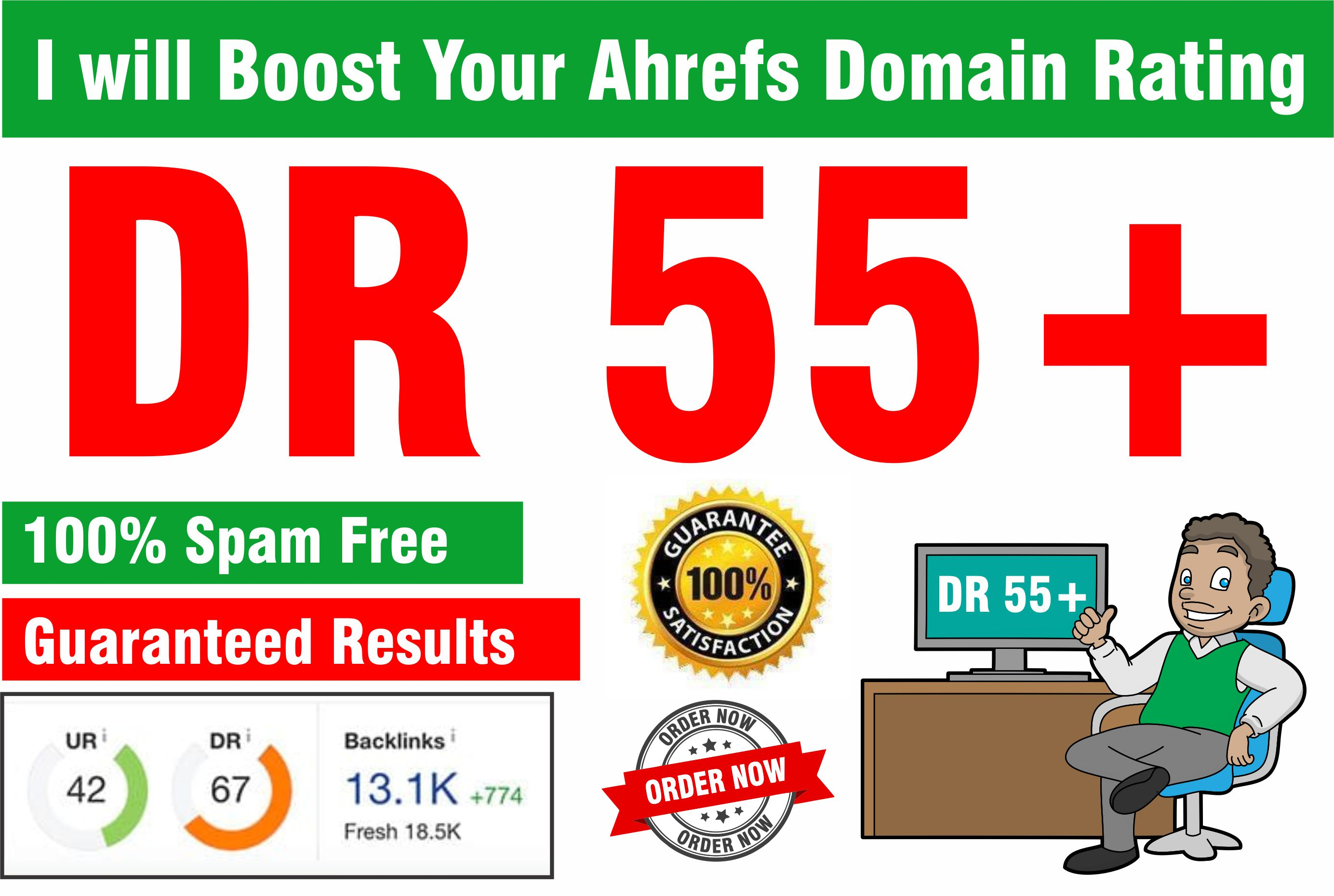 I will increase da dr moz domain authority and ahref domain rating