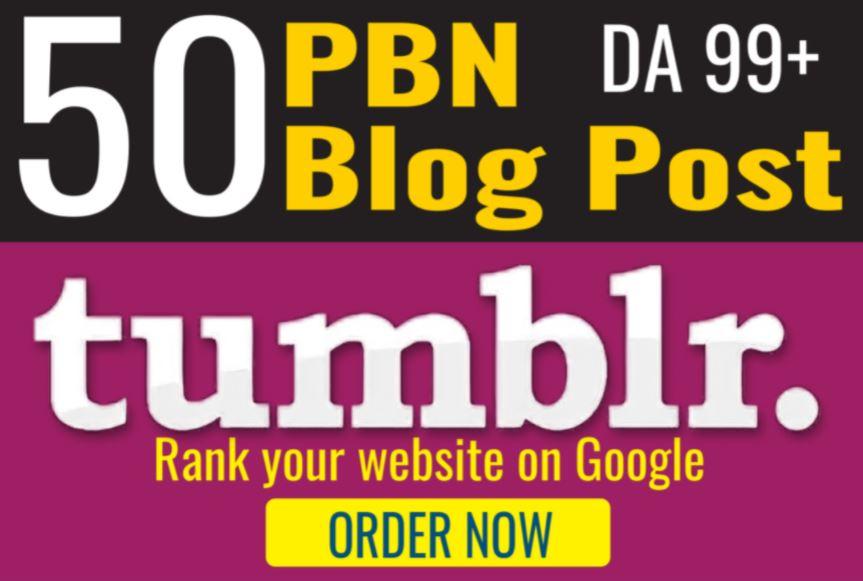 Buy 2 Get 1 FREE PBN 50 High DA98+ PA 28+ Tumblr PBN Backlinks
