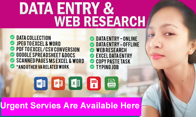 I Will Create Data Entry, Excel Data Entry, Copy Paste and Typing Work within in 5 Hours