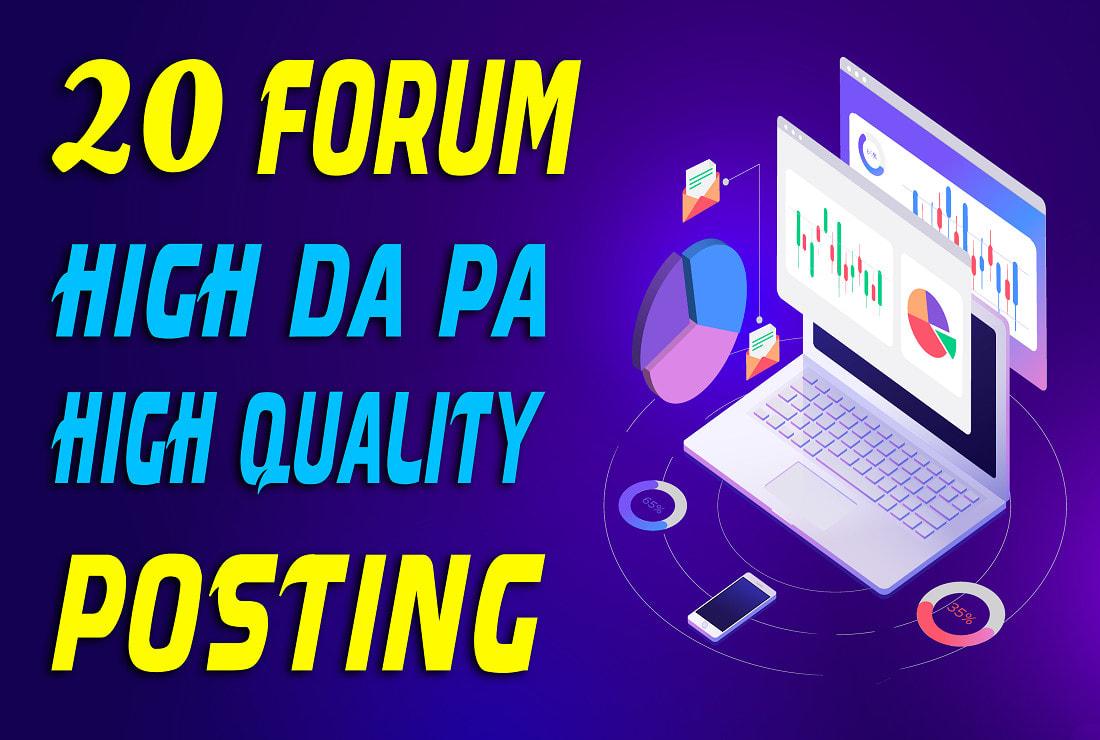 I will do manually do 20 high quality forum posting backlinks