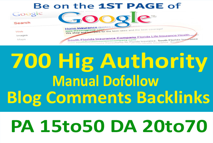 Parmanent 700 High Authority Manual dofollow blog comments backlinks PA 15to50 and DA 20to70