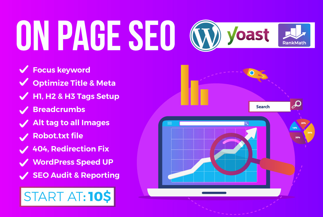 I will do wordpress on page optimization yoast,  rankmath SEO