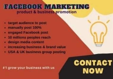 I will promote your business & product to millions of targeted audiences by the Facebook marketing