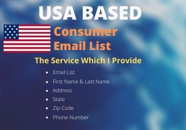 1000 Fresh USA Based Consumer Email List.