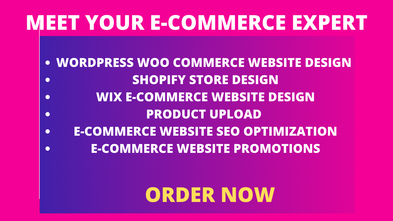 I will design ecommerce wix website or shopify or wordpress
