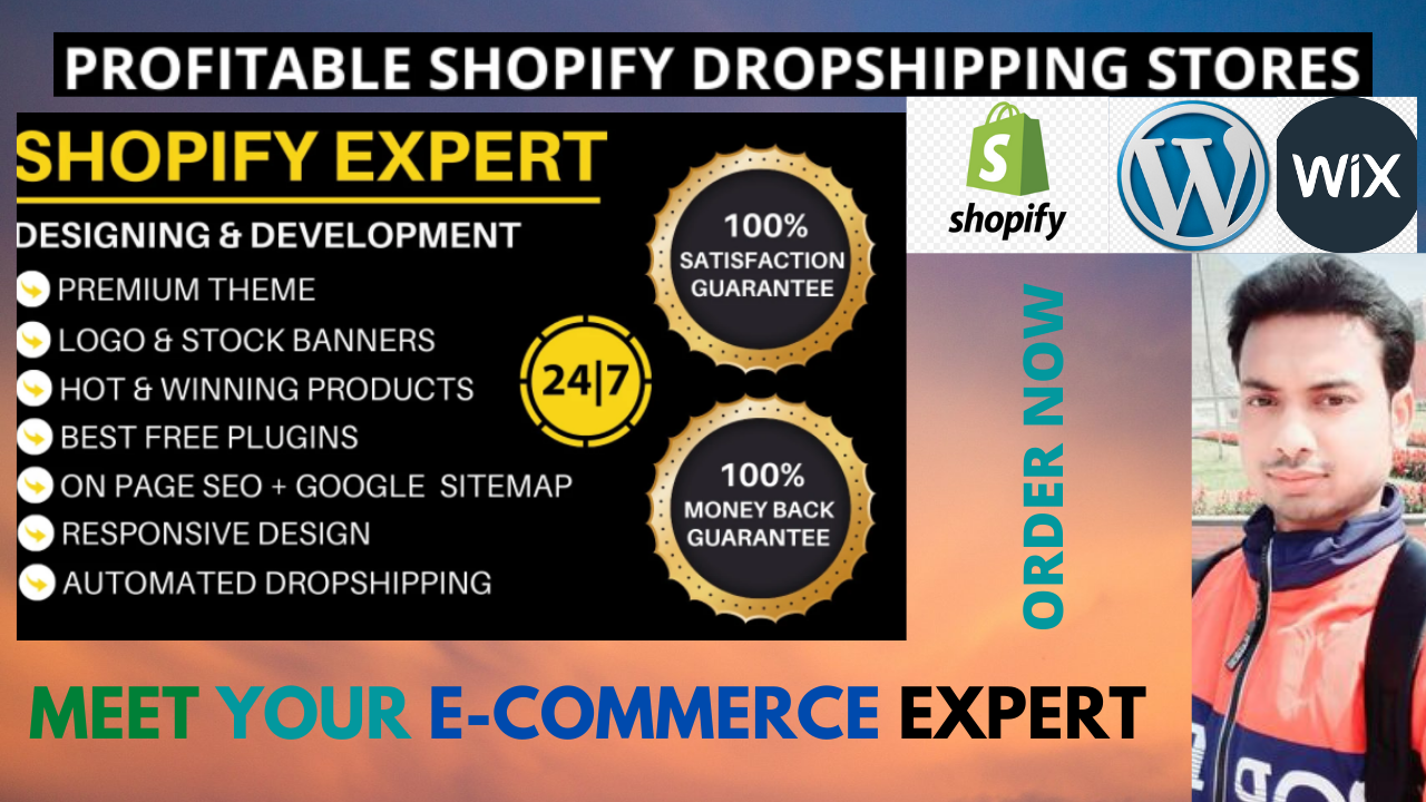 I will build eCommerce website on Wix or Shopify or WordPress