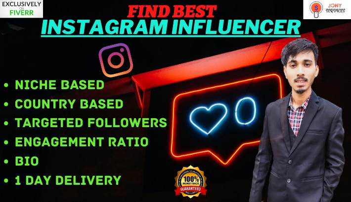 I will find best instagram influencer for your niche or business
