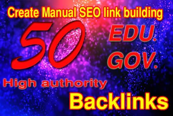 Create 50 edu gov high authority SEO link building backlink