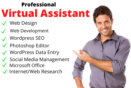 I will do virtual assistant as web designer