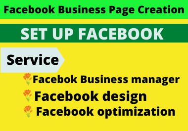 I will do Facebook business page creation,  setup,  manage and optimize for