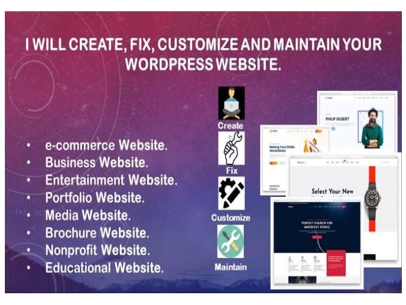 I will create,  fix,  customize and maintain your WordPress website.