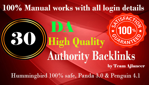 30 PR9 80+DA Manual High Quality Permanent SEO Backlinks to increase your Google ranking