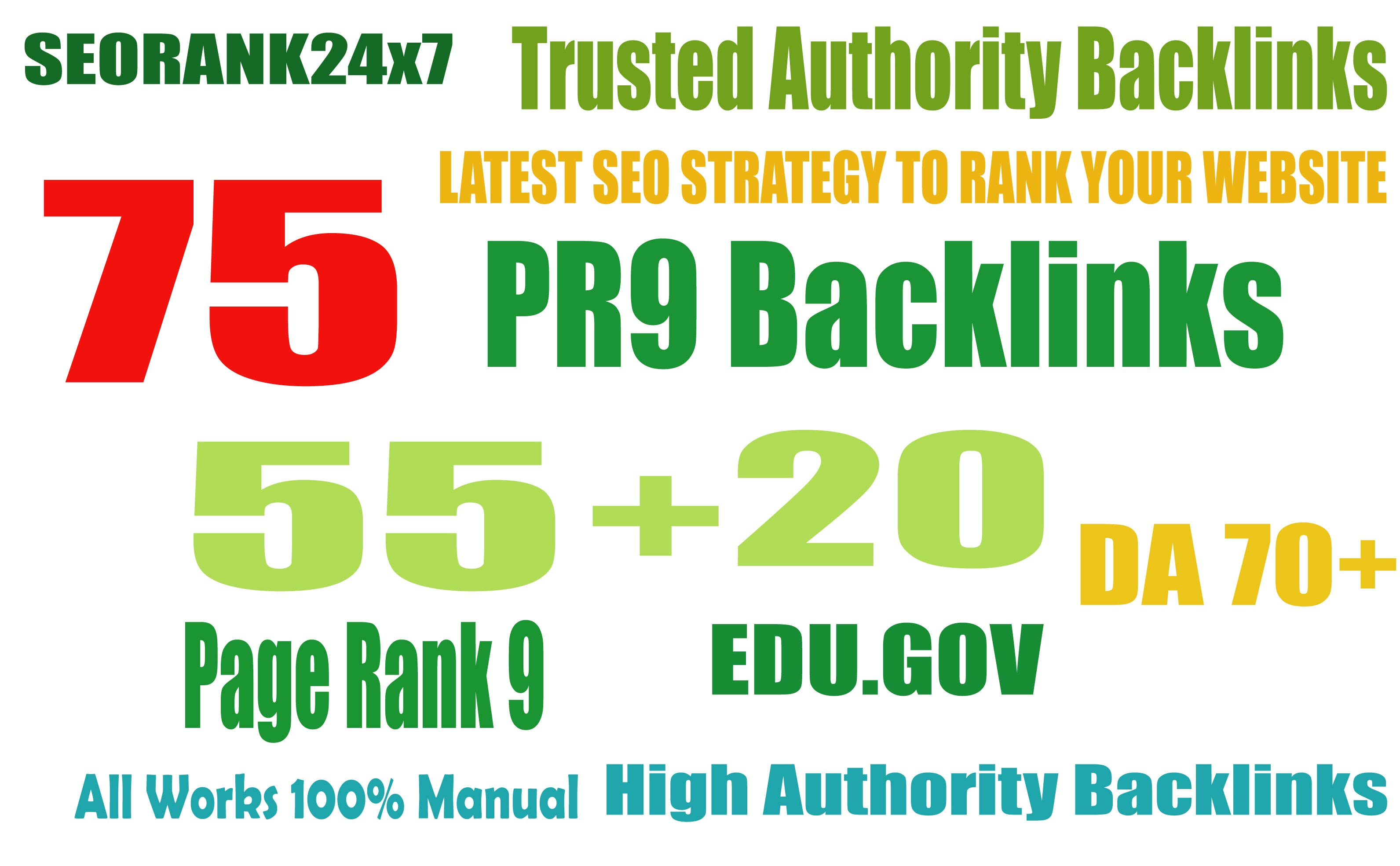 Exclusively 75 Backlinks 55 PR9 +20 EDU/GOV 90+ DA High Quality Permanent Links Increase Google Rank