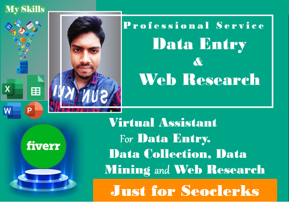 I will do your data entry and web research work perfectly
