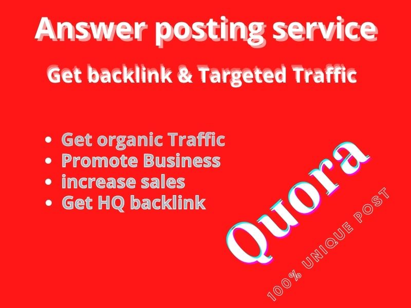5 quora answer for your website get 100 granted traffic at short time