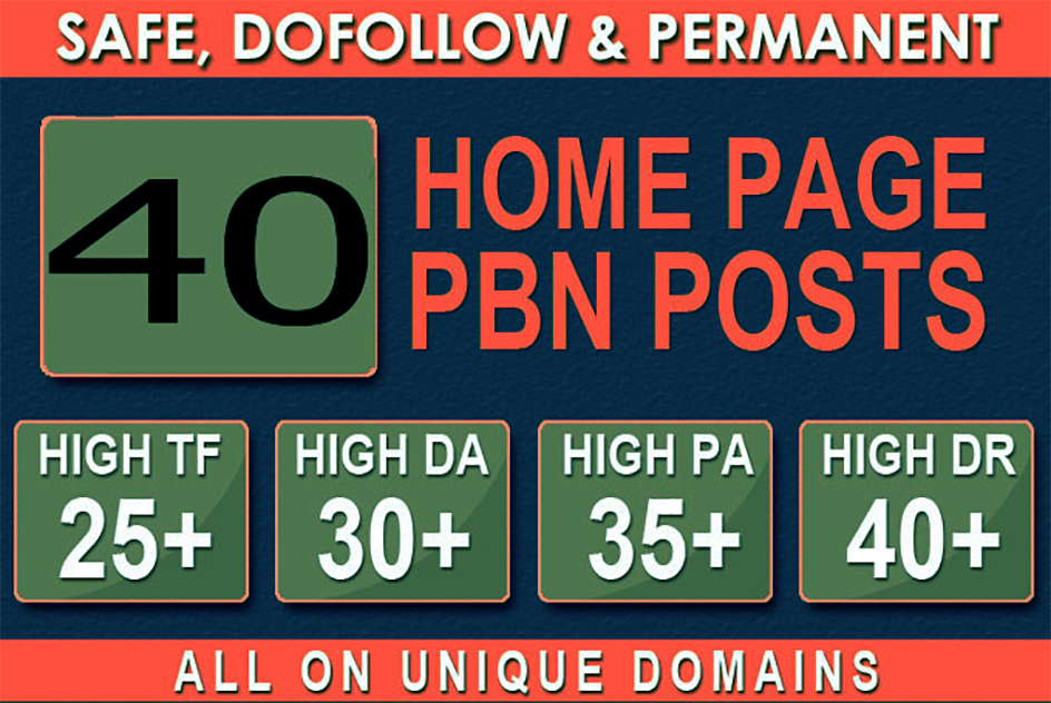 Build 40+ Backlink with 30+ Da 35+ PA DOFOLLOW and Homepage Web 2.0 PBN with 40+ unique websile link