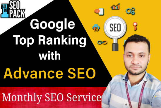 provide monthly SEO service,  On page SEO Off page SEO to get top rank on Google