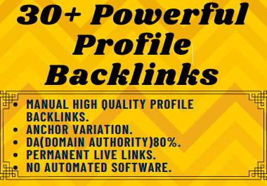 I will manually create 30 High Authority Profile Backlinks For Website SEO