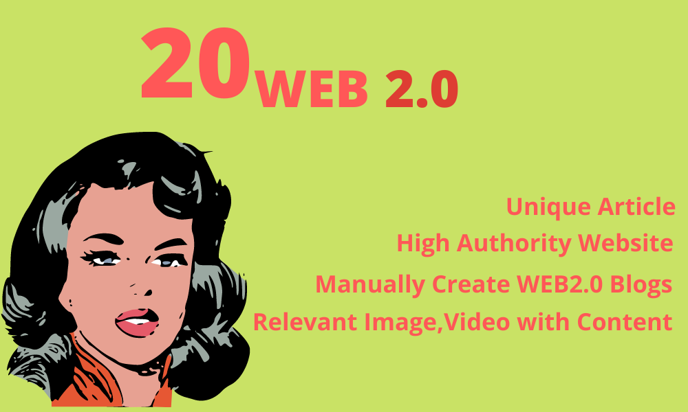 Claim manual 20 High Domain Authority Permanent Web 2.0 Backlinks to rank your site
