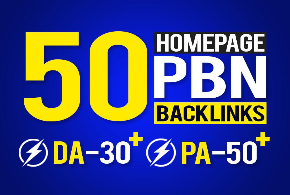 provide 50 homepage seo pbn backlinks da 30 plus pa 50 plus